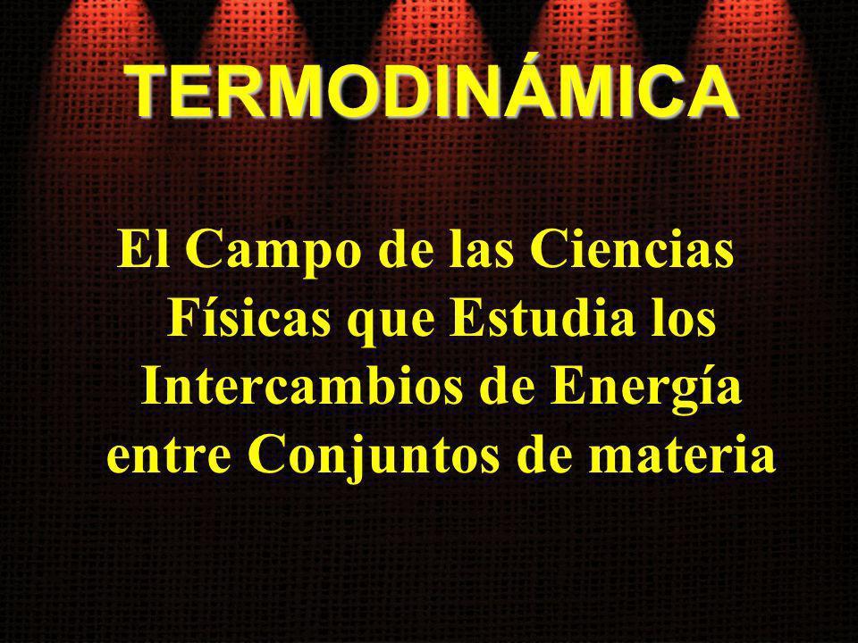 TERMODINÁMICA El Campo de las Ciencias Físicas que Estudia los Intercambios de Energía entre Conjuntos de materia.
