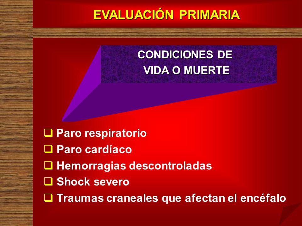 EVALUACIÓN PRIMARIA Paro respiratorio Paro cardíaco