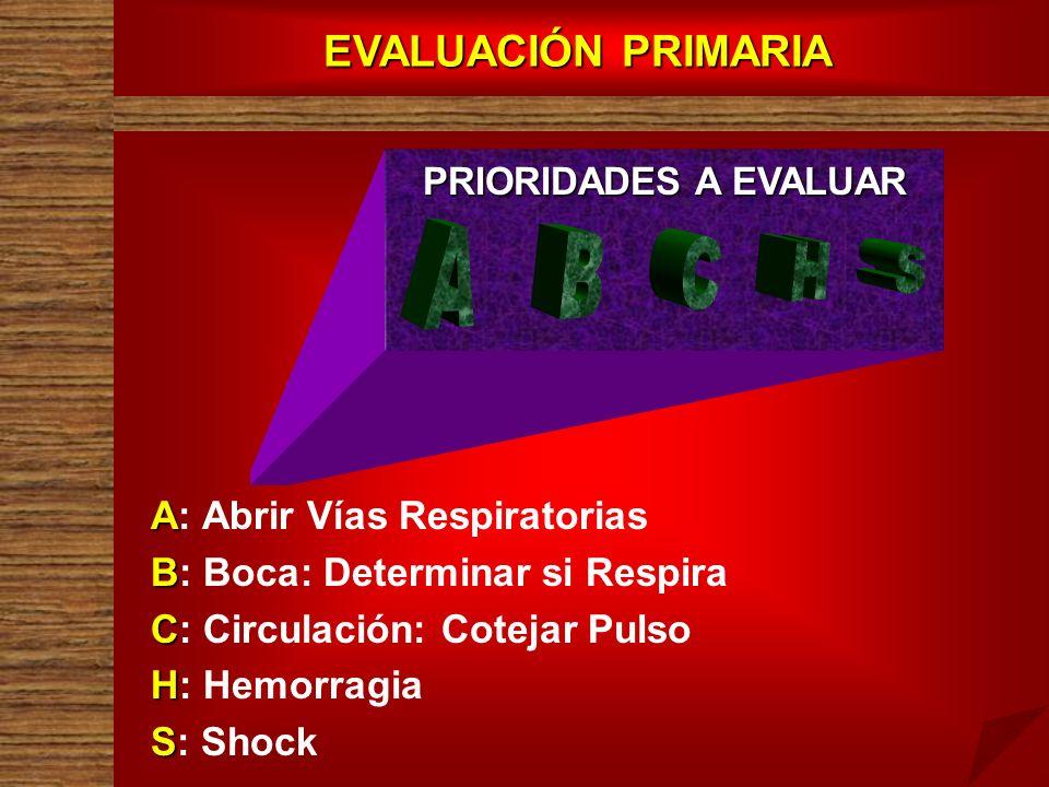 A B C H S EVALUACIÓN PRIMARIA A: Abrir Vías Respiratorias