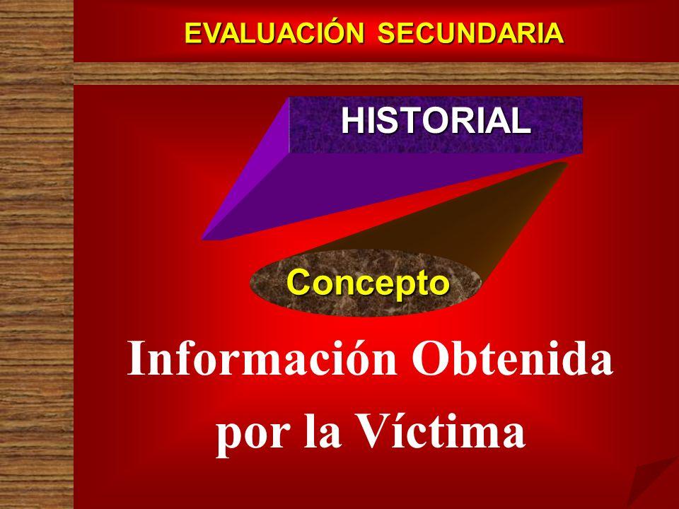 EVALUACIÓN SECUNDARIA Información Obtenida por la Víctima