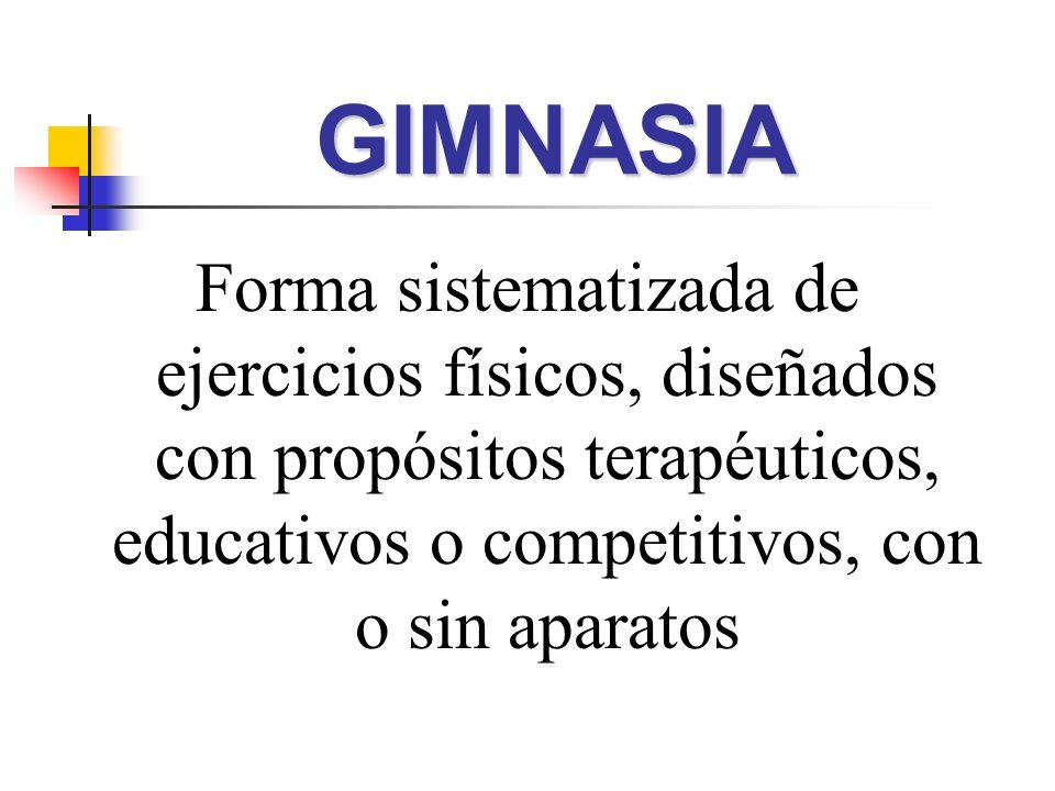 GIMNASIAForma sistematizada de ejercicios físicos, diseñados con propósitos terapéuticos, educativos o competitivos, con o sin aparatos.
