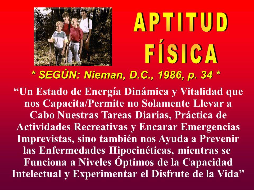 APTITUD FÍSICA * SEGÚN: Nieman, D.C., 1986, p. 34 *