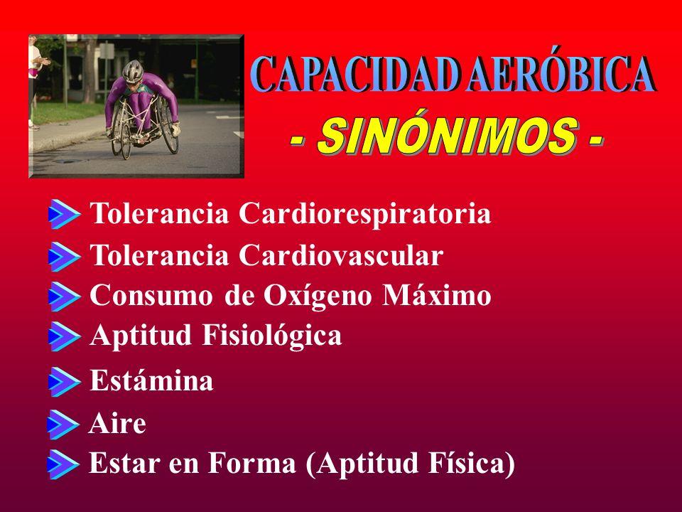 CAPACIDAD AERÓBICA - SINÓNIMOS - Tolerancia Cardiorespiratoria