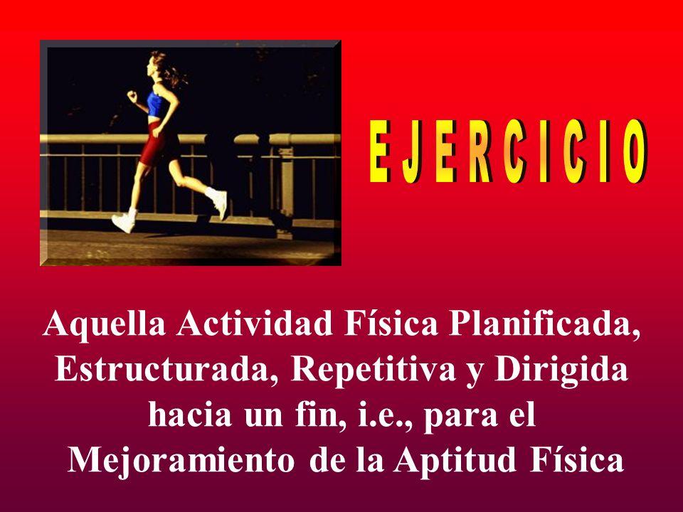EJERCICIO Aquella Actividad Física Planificada,
