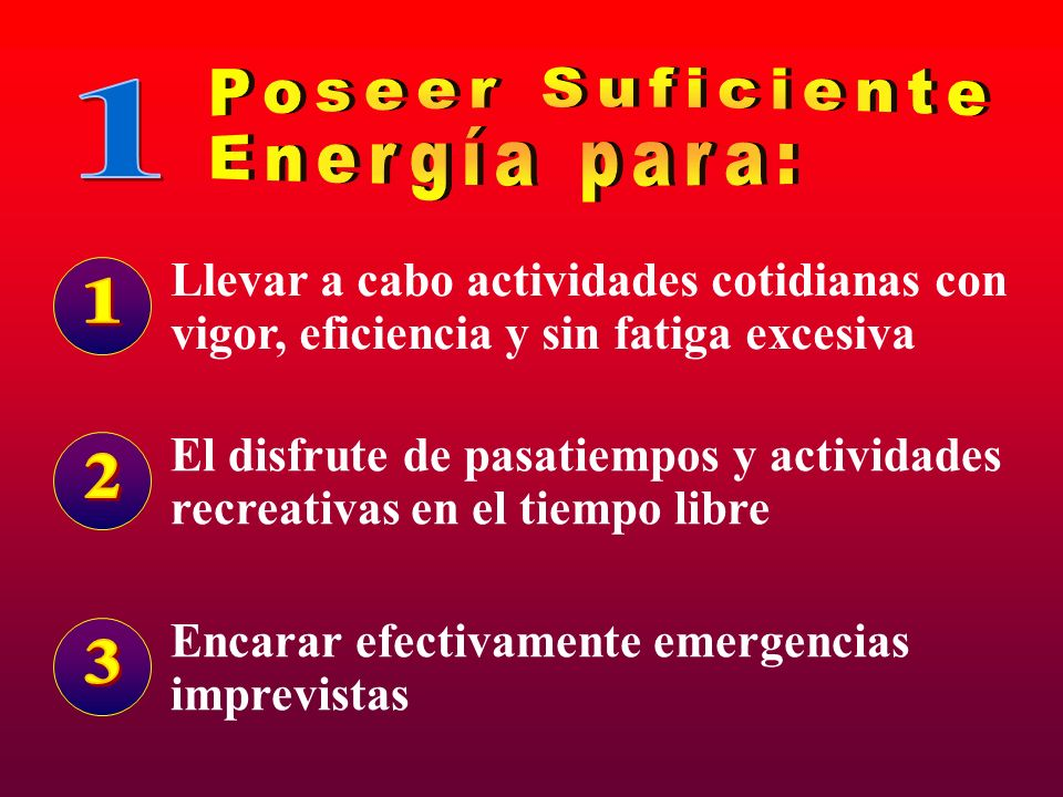 Poseer Suficiente Energía para: 1 1 2 3