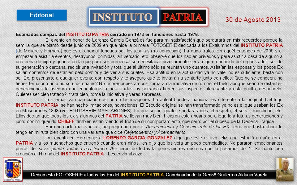 INSTITUTO PATRIA Editorial 30 de Agosto 2013
