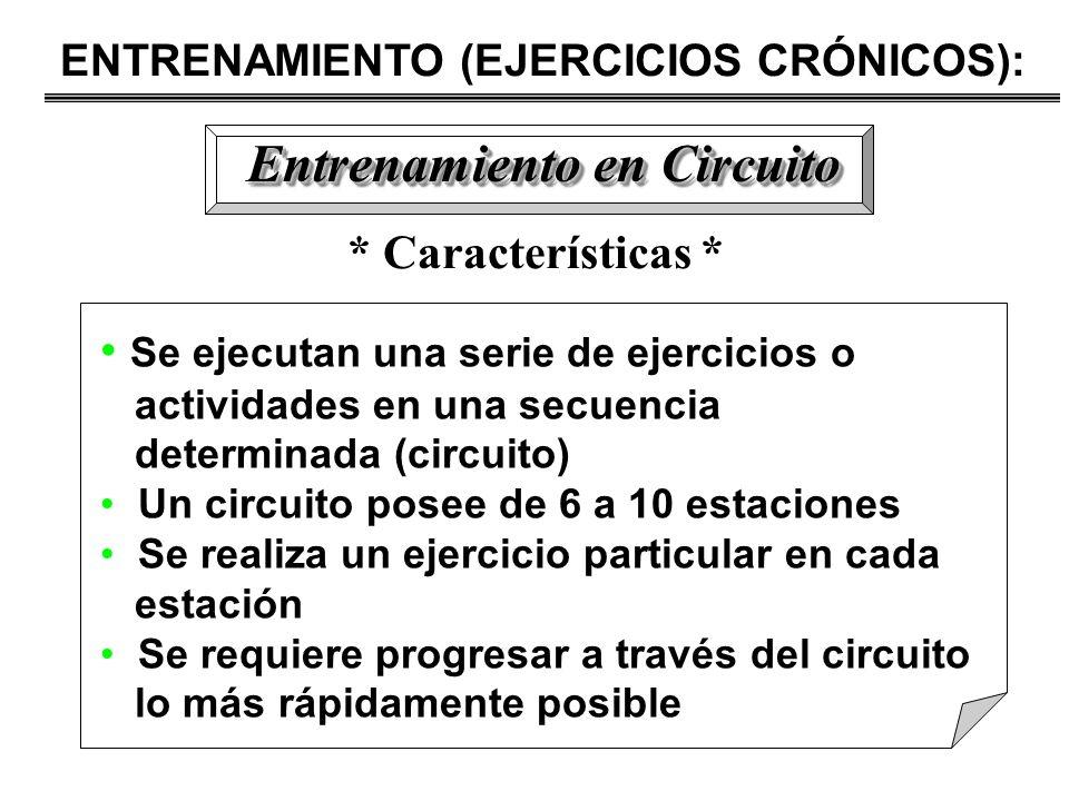ENTRENAMIENTO (EJERCICIOS CRÓNICOS): Entrenamiento en Circuito