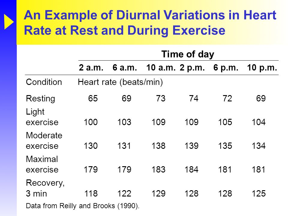 An Example of Diurnal Variations in Heart Rate at Rest and During Exercise