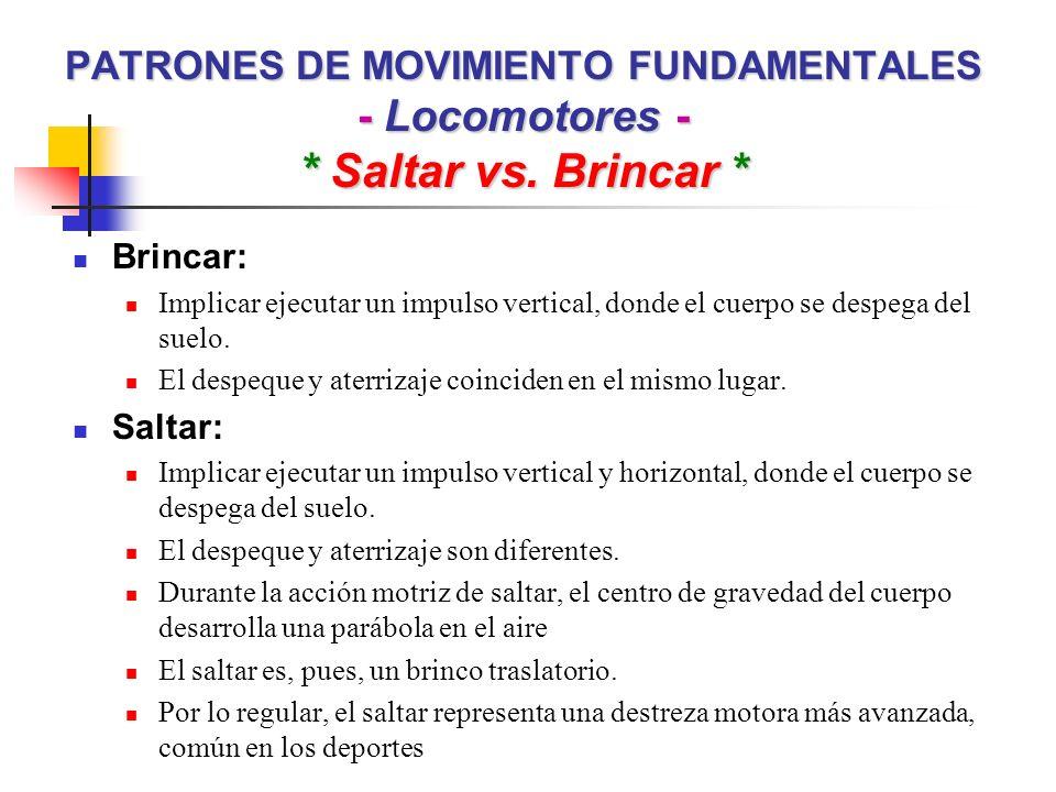 PATRONES DE MOVIMIENTO FUNDAMENTALES - Locomotores -. Saltar vs
