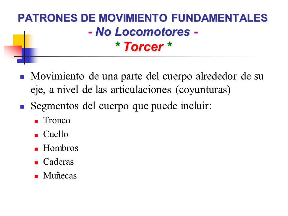 PATRONES DE MOVIMIENTO FUNDAMENTALES - No Locomotores - * Torcer *