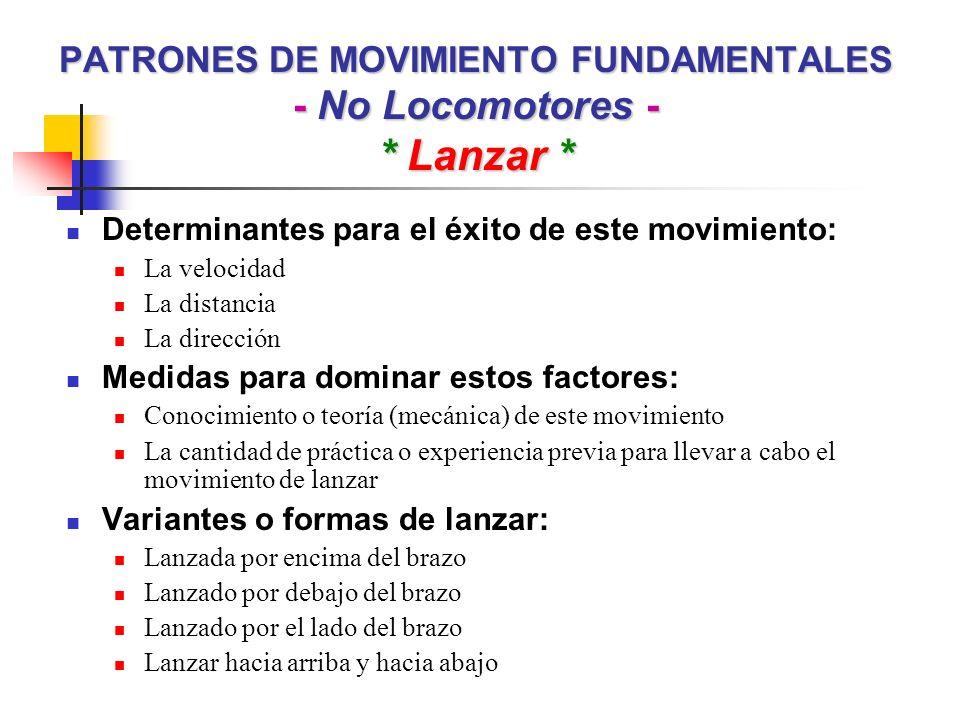 PATRONES DE MOVIMIENTO FUNDAMENTALES - No Locomotores - * Lanzar *