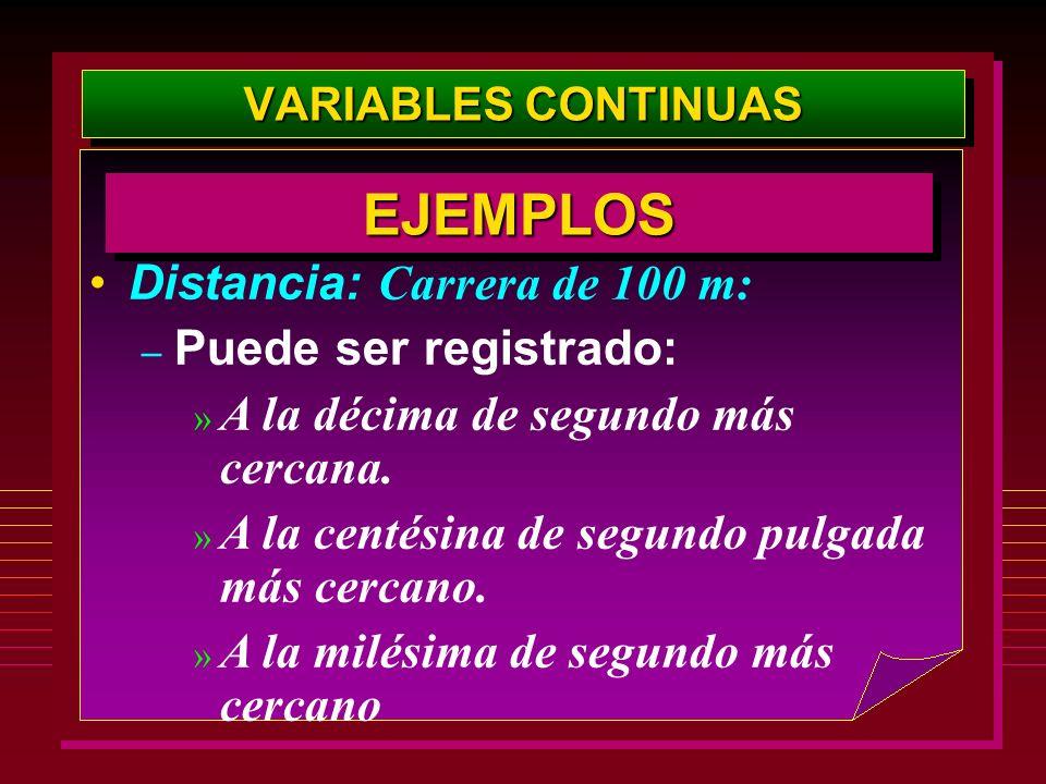 EJEMPLOS Distancia: Carrera de 100 m: Puede ser registrado: