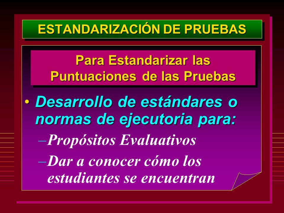 ESTANDARIZACIÓN DE PRUEBAS