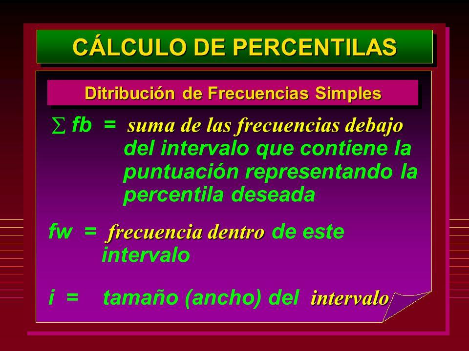 CÁLCULO DE PERCENTILAS