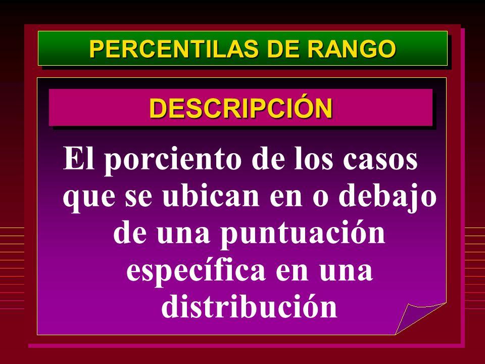 PERCENTILAS DE RANGODESCRIPCIÓN.