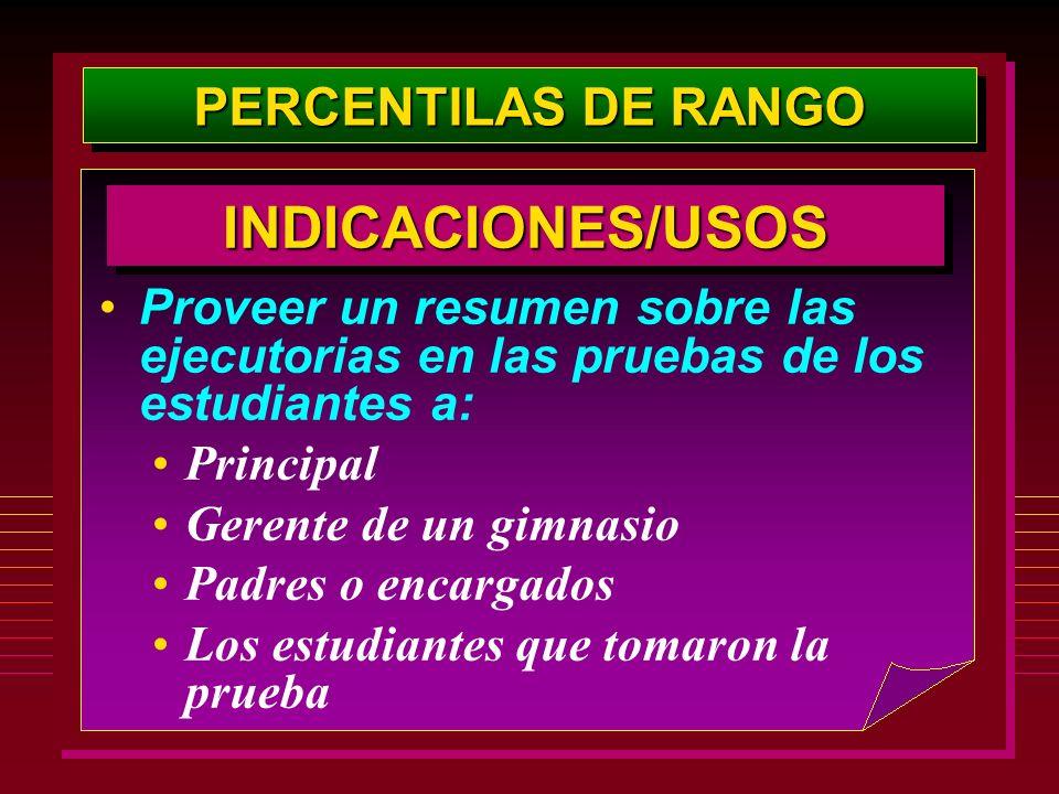 INDICACIONES/USOS PERCENTILAS DE RANGO