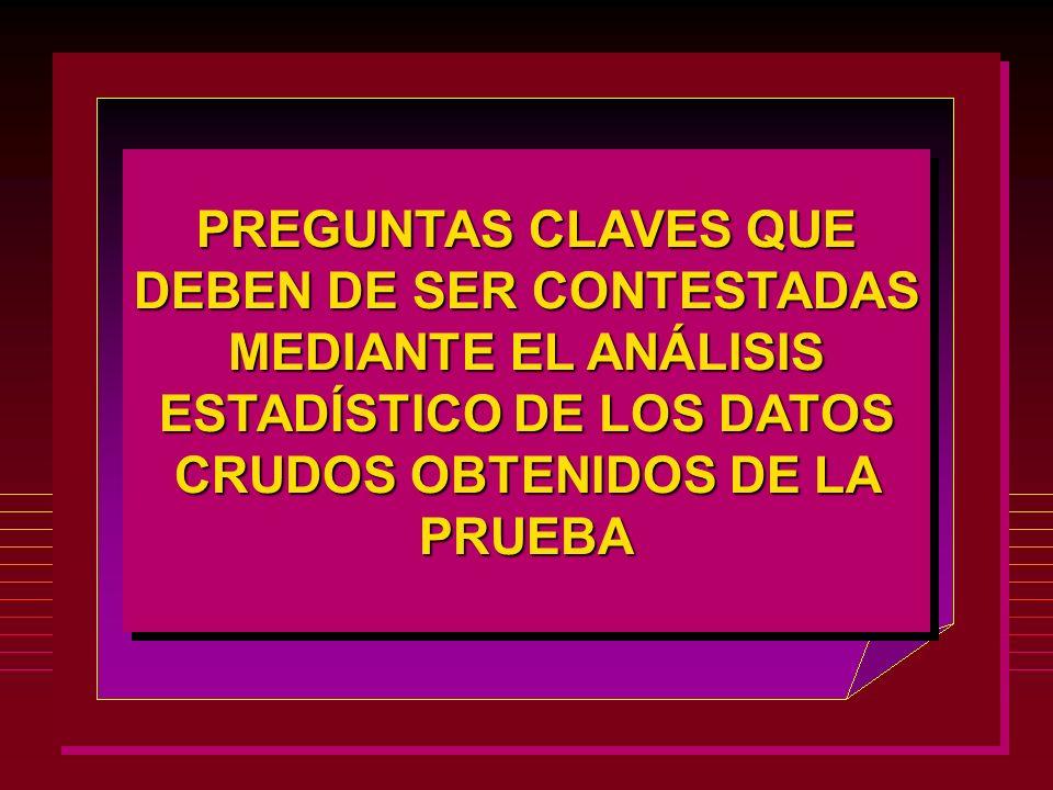 PREGUNTAS CLAVES QUE DEBEN DE SER CONTESTADAS MEDIANTE EL ANÁLISIS ESTADÍSTICO DE LOS DATOS CRUDOS OBTENIDOS DE LA PRUEBA