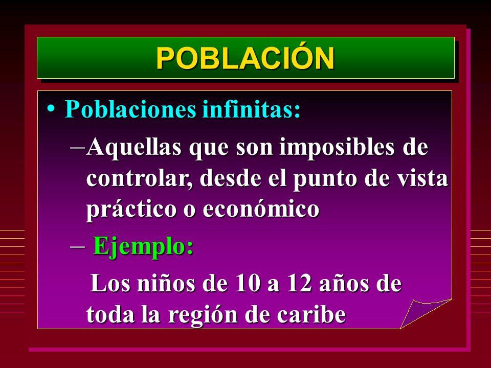 POBLACIÓN Poblaciones infinitas: