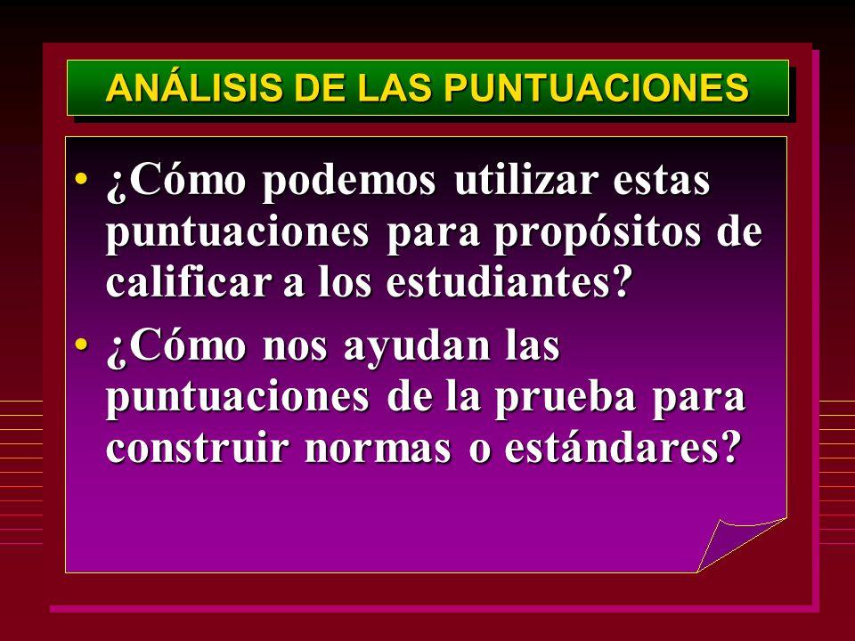 ANÁLISIS DE LAS PUNTUACIONES