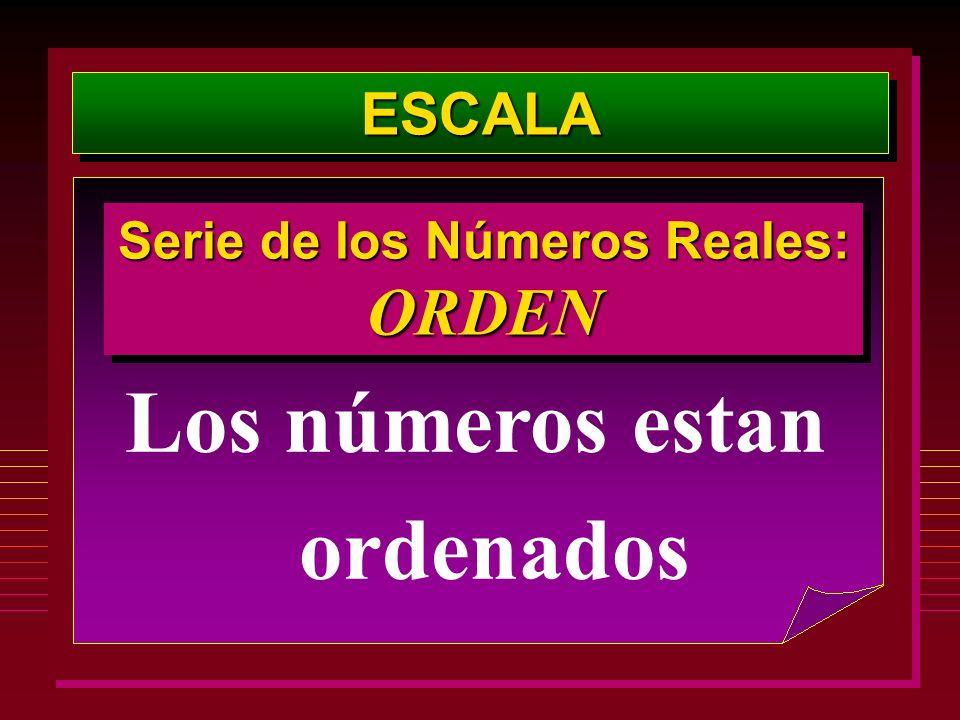 Serie de los Números Reales: Los números estan ordenados