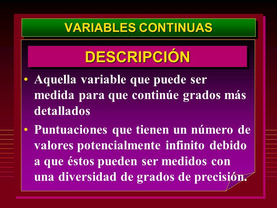 VARIABLES CONTINUASDESCRIPCIÓN. Aquella variable que puede ser medida para que continúe grados más detallados.