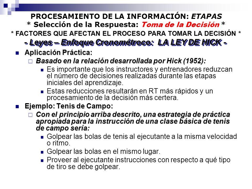 - Leyes – Enfoque Cronométroco: LA LEY DE HICK -
