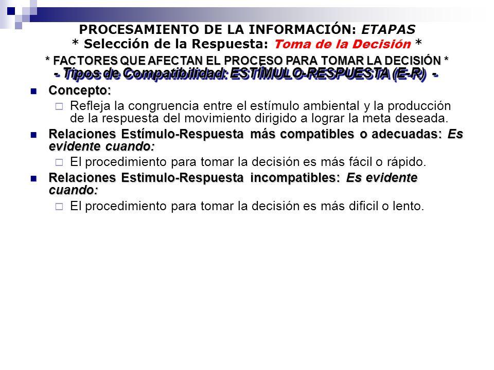 - Tipos de Compatibilidad: ESTÍMULO-RESPUESTA (E-R) -