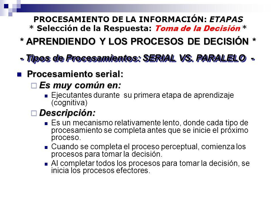* APRENDIENDO Y LOS PROCESOS DE DECISIÓN *