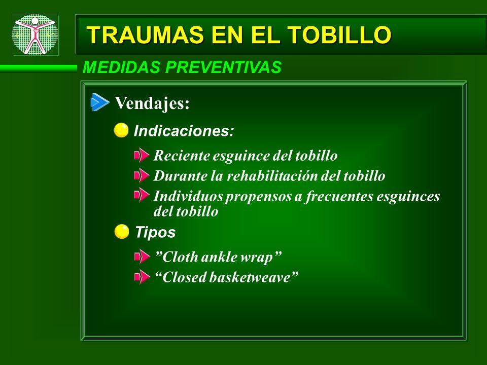 TRAUMAS EN EL TOBILLO Vendajes: MEDIDAS PREVENTIVAS Indicaciones:
