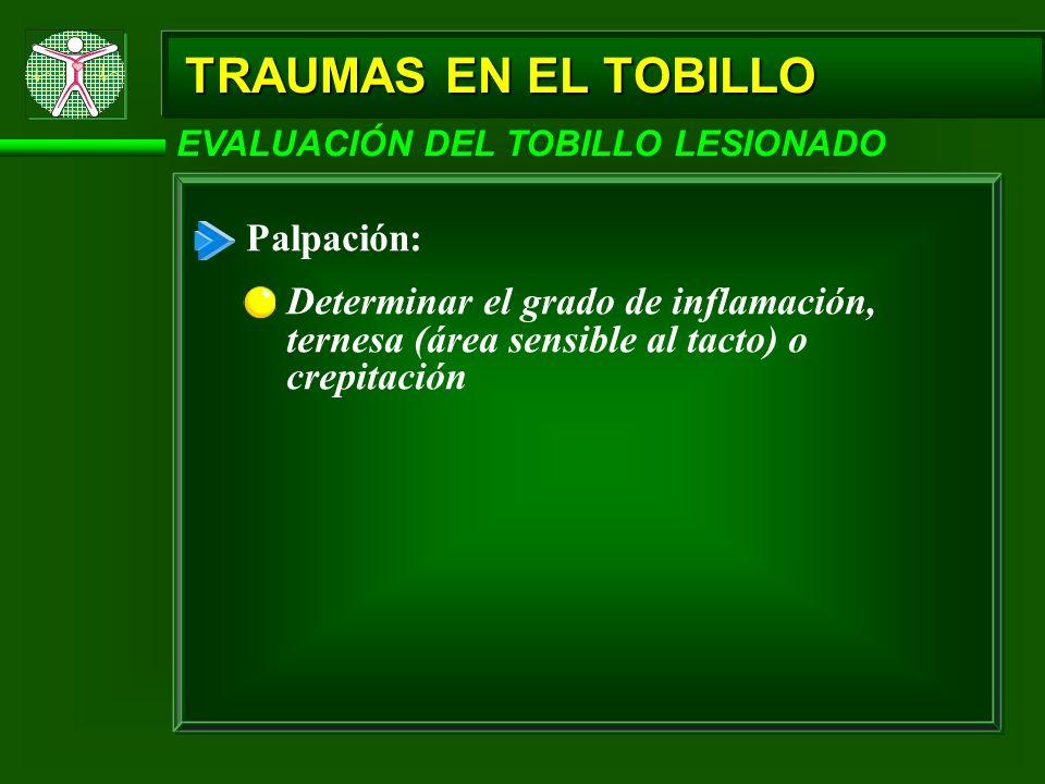 TRAUMAS EN EL TOBILLO Palpación: