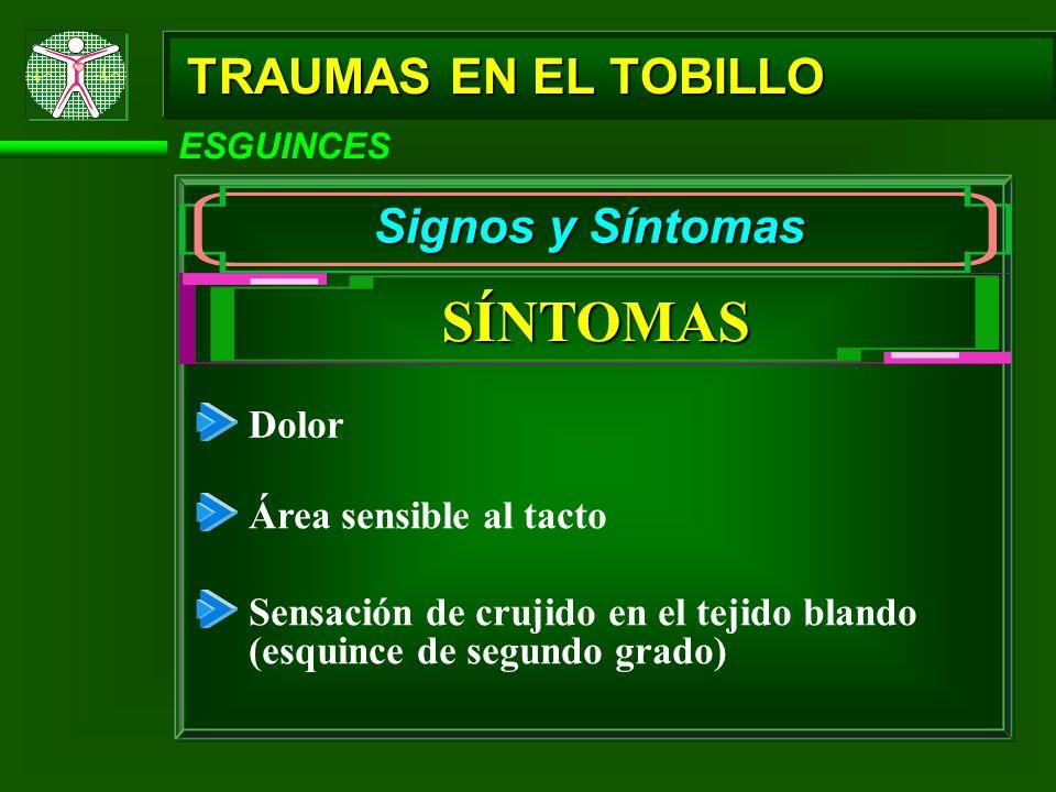 SÍNTOMAS TRAUMAS EN EL TOBILLO Signos y Síntomas Dolor