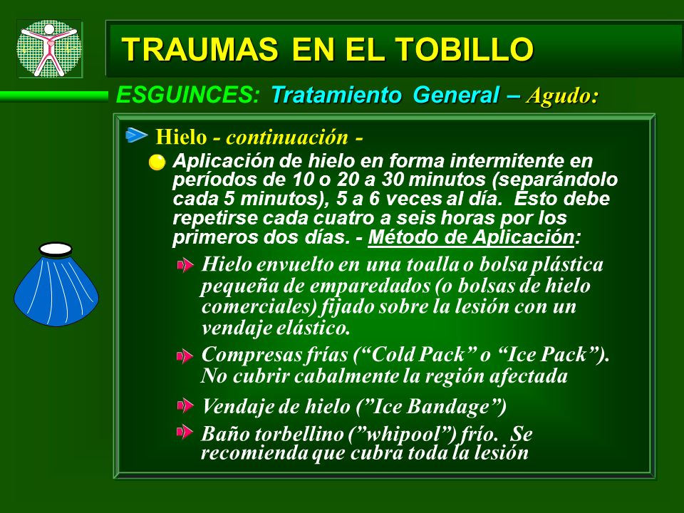 TRAUMAS EN EL TOBILLO ESGUINCES: Tratamiento General – Agudo: