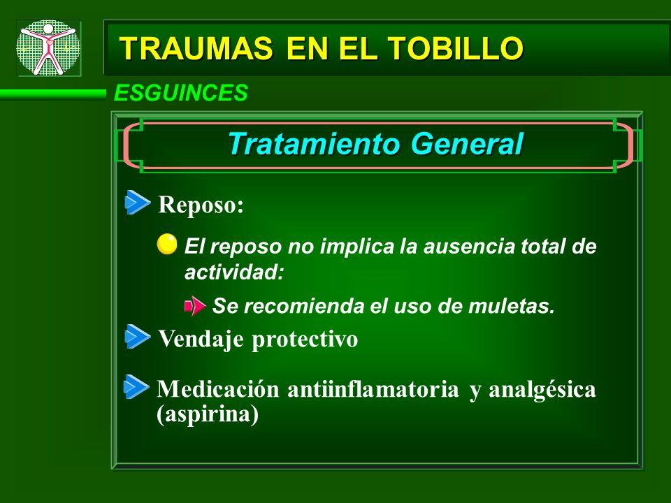 TRAUMAS EN EL TOBILLO Tratamiento General Reposo: Vendaje protectivo