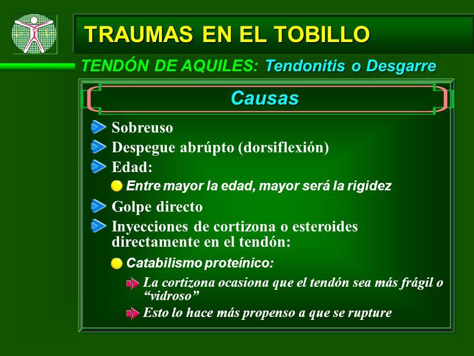 TRAUMAS EN EL TOBILLO Causas TENDÓN DE AQUILES: Tendonitis o Desgarre