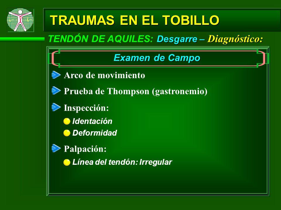 TRAUMAS EN EL TOBILLO TENDÓN DE AQUILES: Desgarre – Diagnóstico: