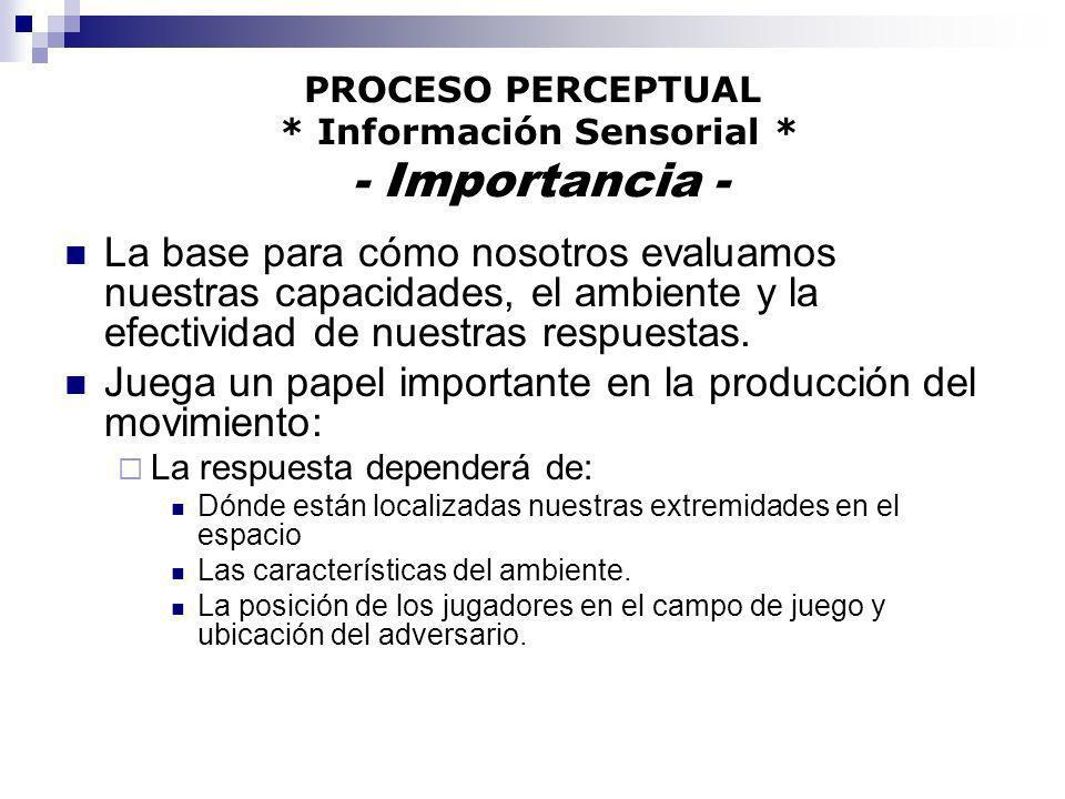PROCESO PERCEPTUAL * Información Sensorial * - Importancia -