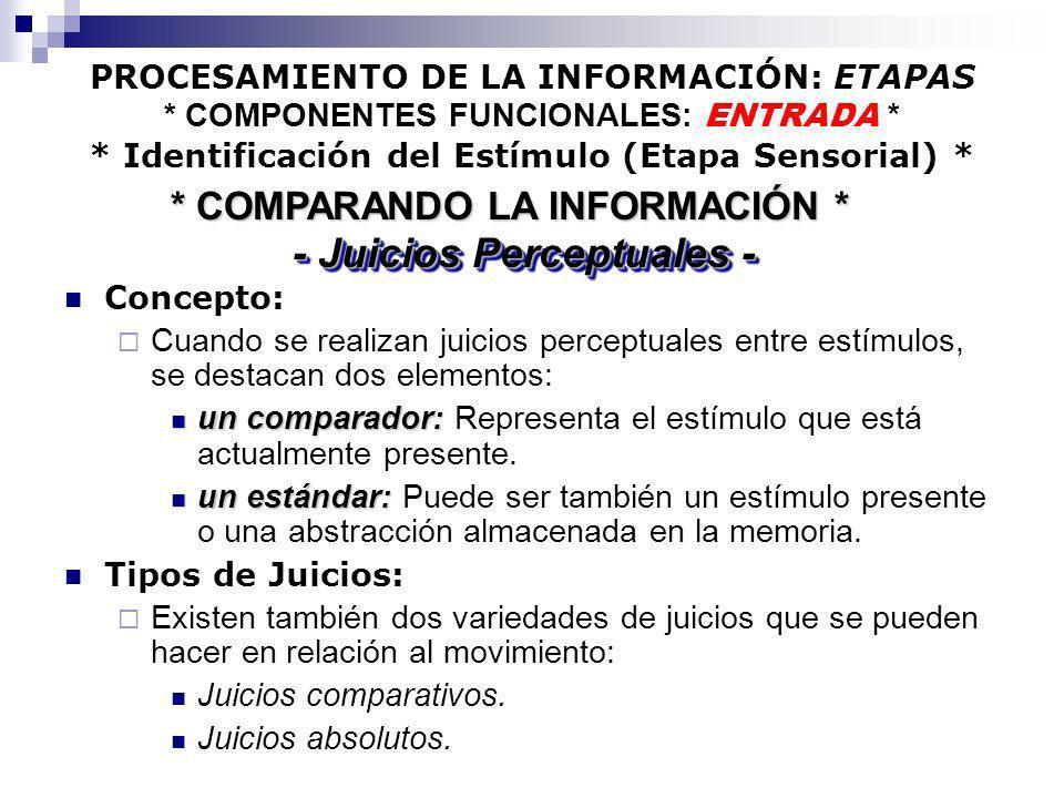 * COMPARANDO LA INFORMACIÓN * - Juicios Perceptuales -
