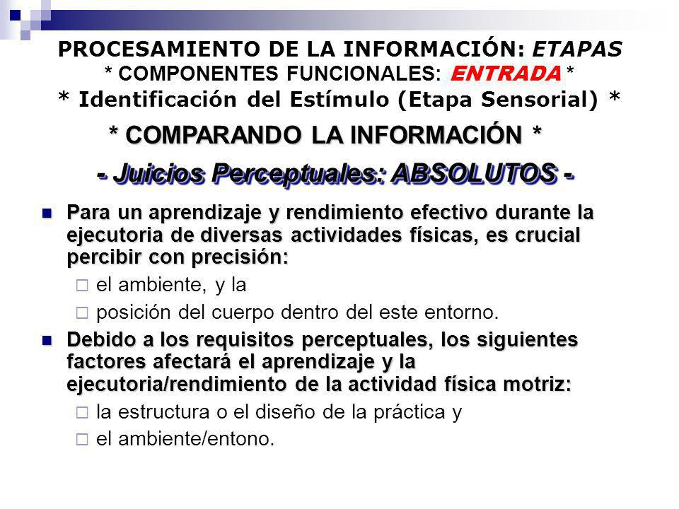* COMPARANDO LA INFORMACIÓN * - Juicios Perceptuales: ABSOLUTOS -