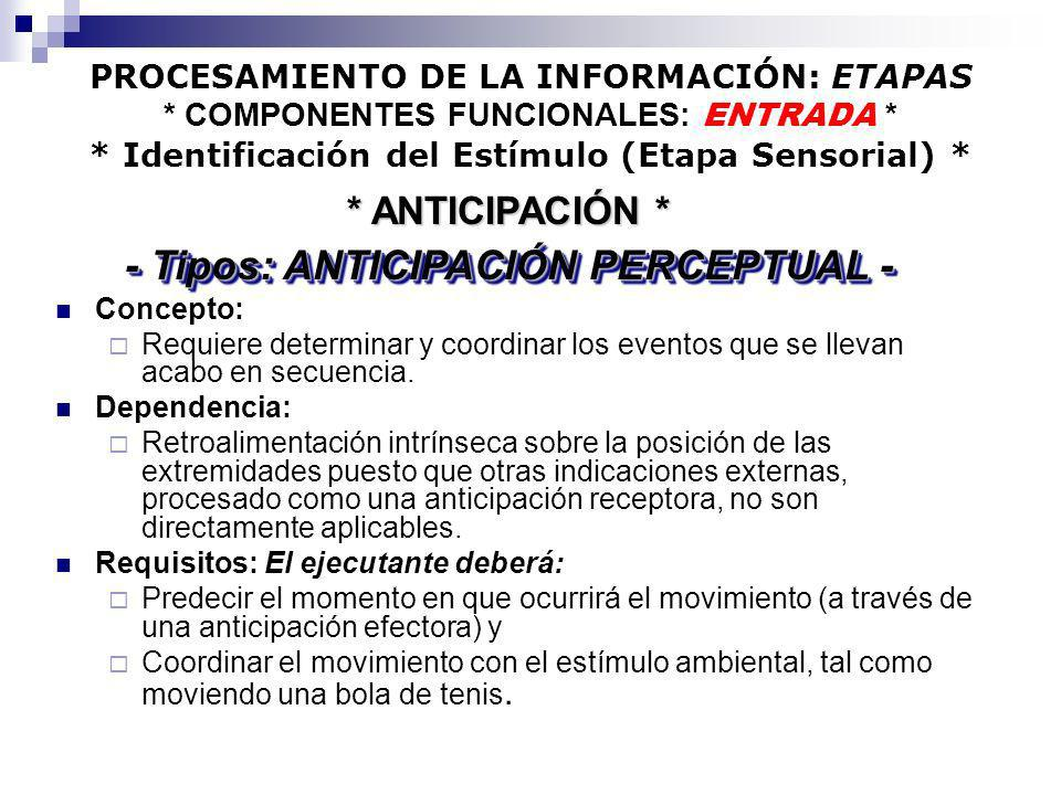 - Tipos: ANTICIPACIÓN PERCEPTUAL -