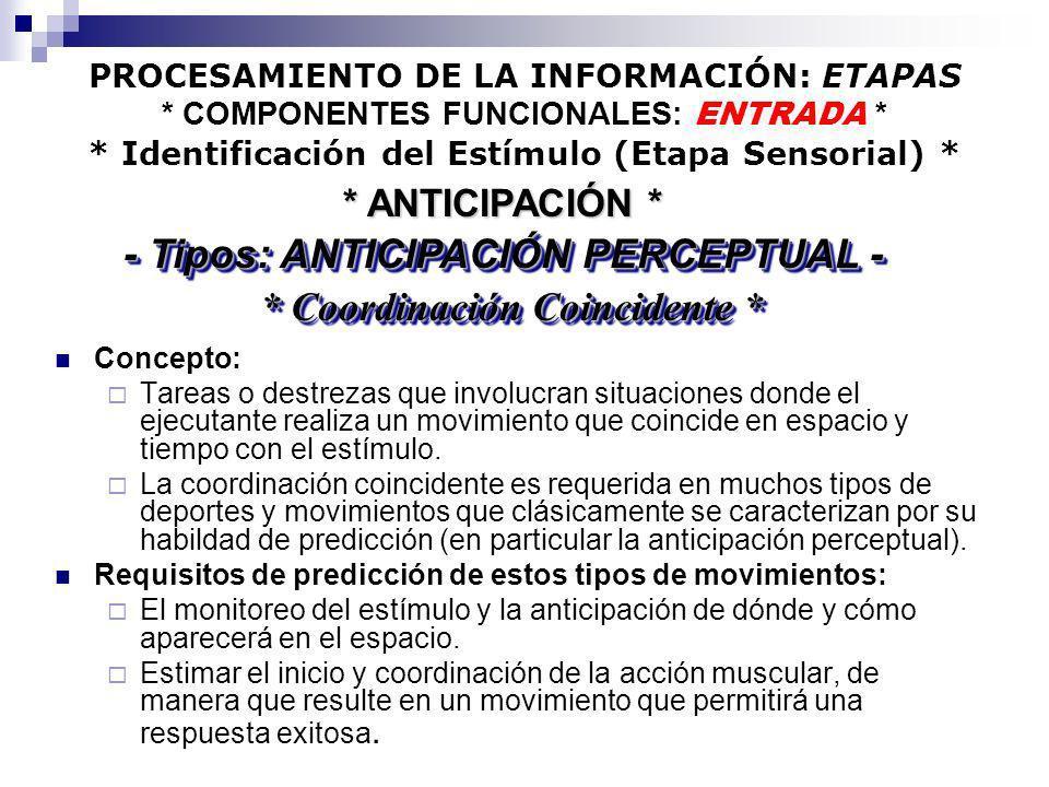 - Tipos: ANTICIPACIÓN PERCEPTUAL - * Coordinación Coincidente *