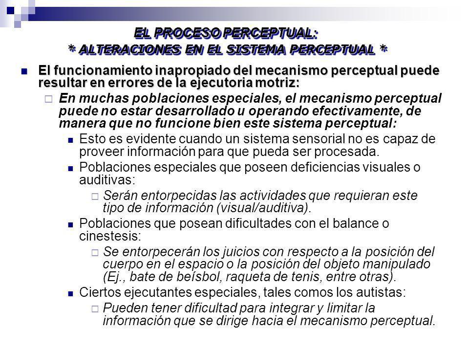 EL PROCESO PERCEPTUAL: * ALTERACIONES EN EL SISTEMA PERCEPTUAL *