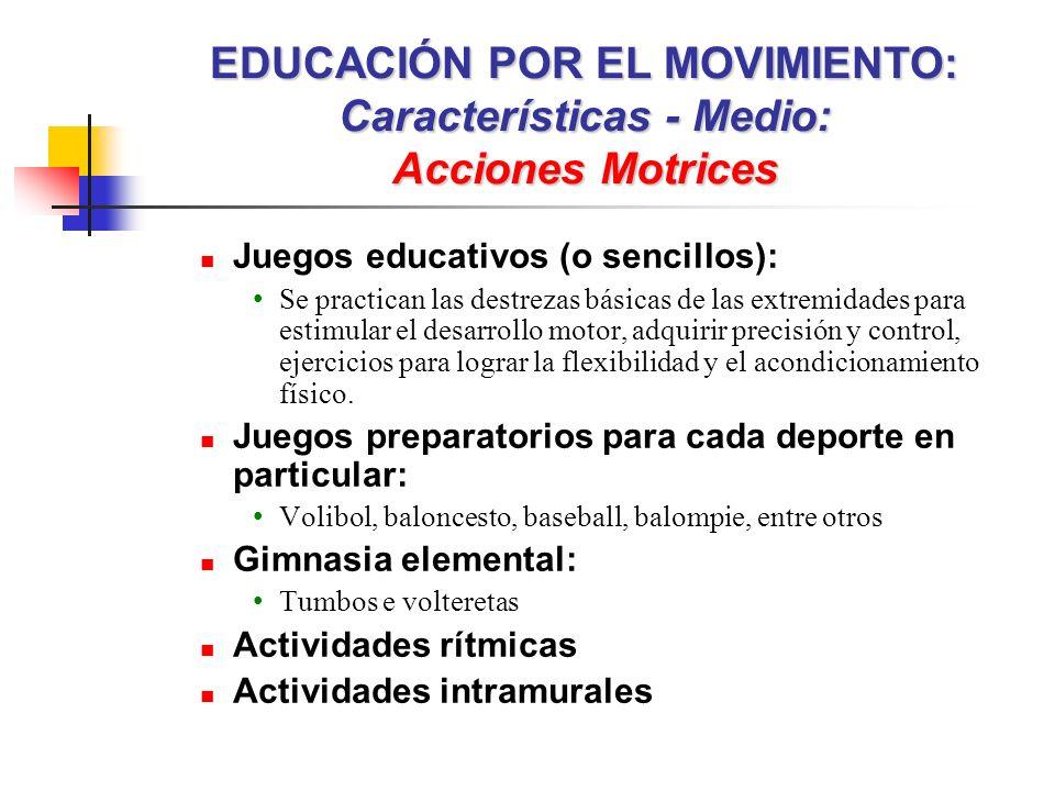 EDUCACIÓN POR EL MOVIMIENTO: Características - Medio: Acciones Motrices