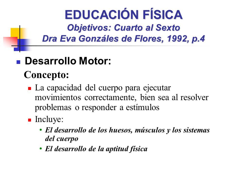 EDUCACIÓN FÍSICA Objetivos: Cuarto al Sexto Dra Eva Gonzáles de Flores, 1992, p.4
