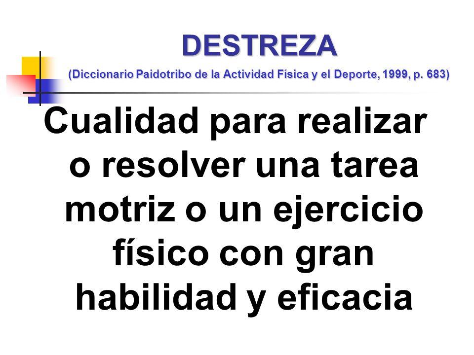DESTREZA (Diccionario Paidotribo de la Actividad Física y el Deporte, 1999, p. 683)