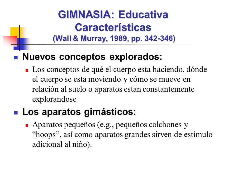 GIMNASIA: Educativa Características (Wall & Murray, 1989, pp. 342-346)