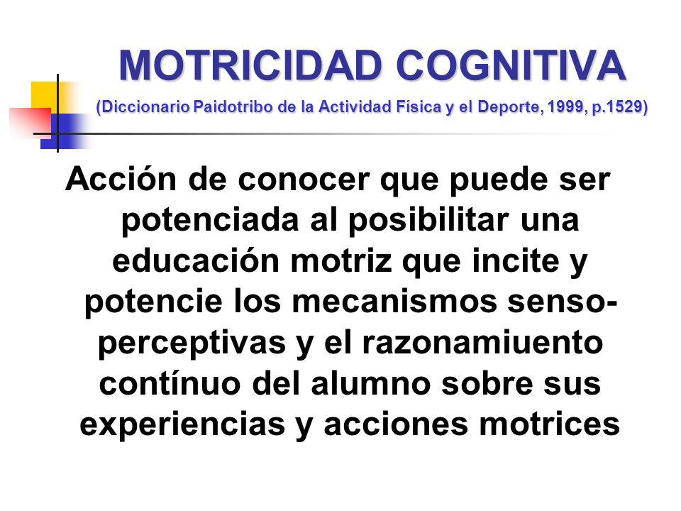 MOTRICIDAD COGNITIVA (Diccionario Paidotribo de la Actividad Física y el Deporte, 1999, p.1529)