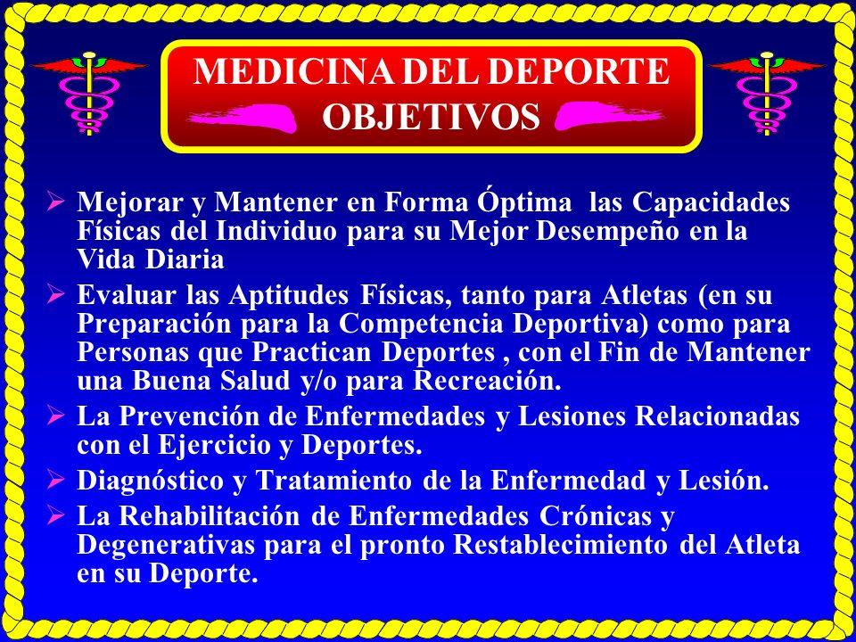 MEDICINA DEL DEPORTE OBJETIVOS