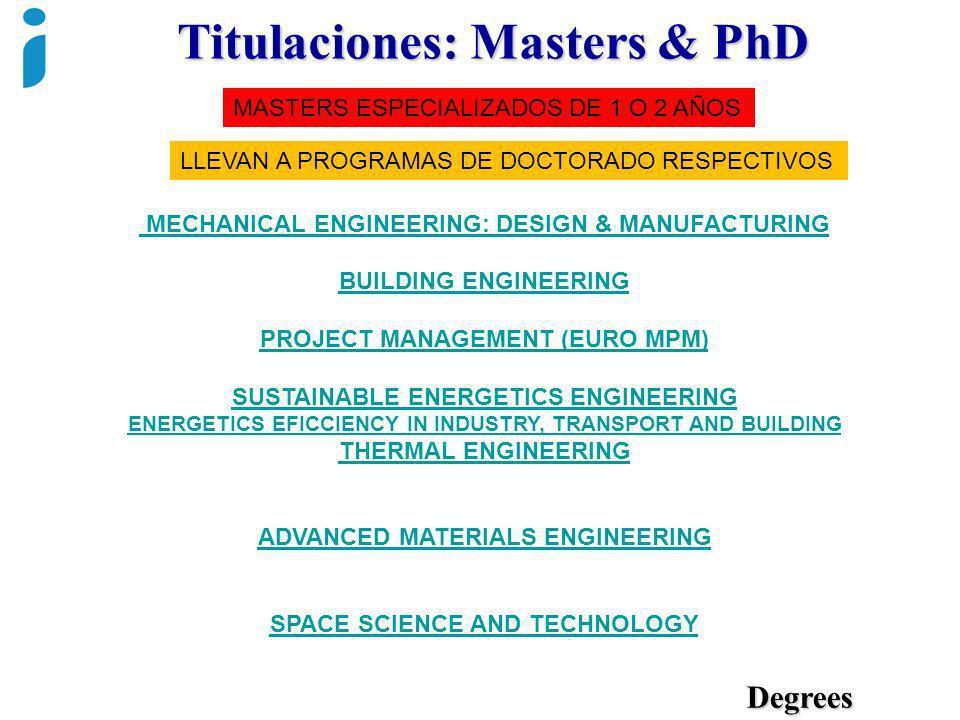 Titulaciones: Masters & PhD