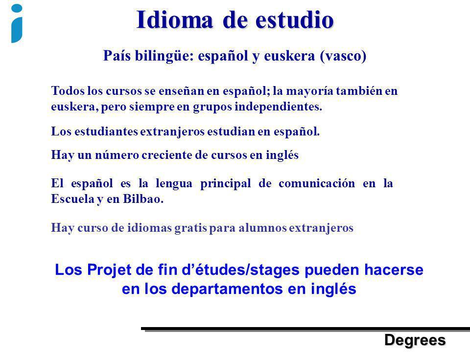 Idioma de estudio País bilingüe: español y euskera (vasco)