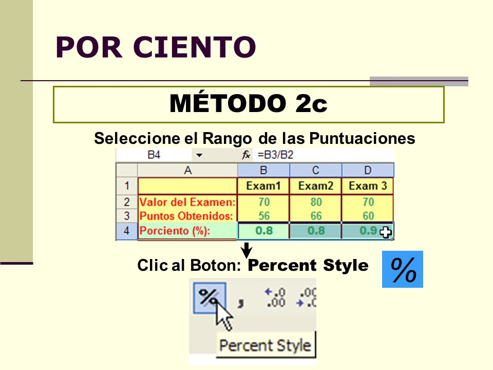 Seleccione el Rango de las Puntuaciones Clic al Boton: Percent Style